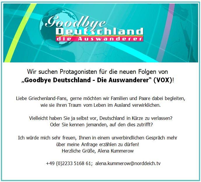 """Suche: """"Die Auswanderer – Goodbye Deutschland""""."""