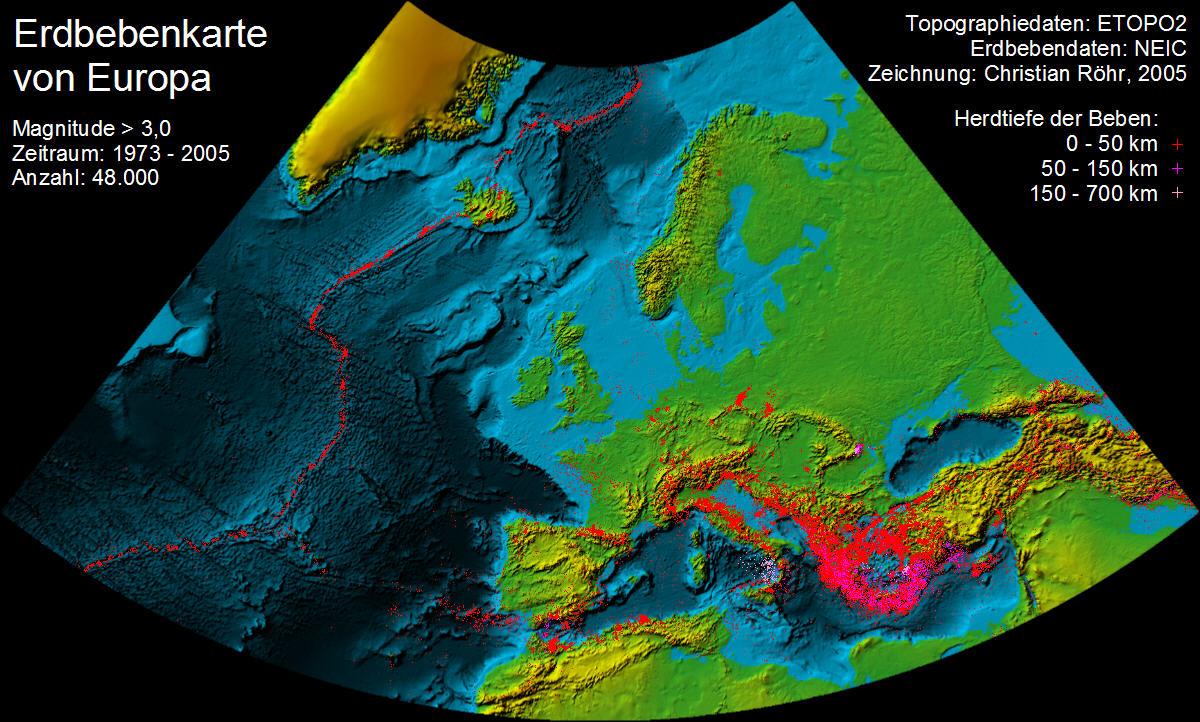 erdbebengebiete am mittelmeer