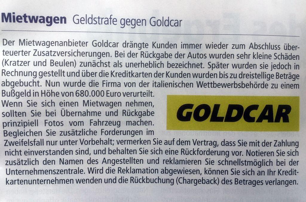 Goldcar Mietwagen