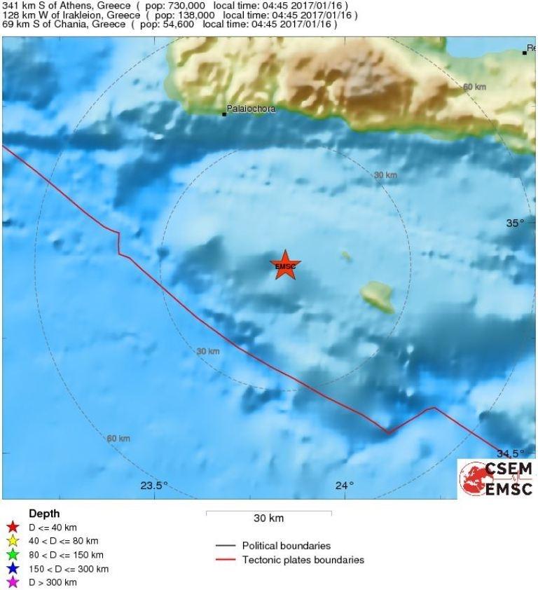 Erdbeben 16.01.2017 bei Gavdos