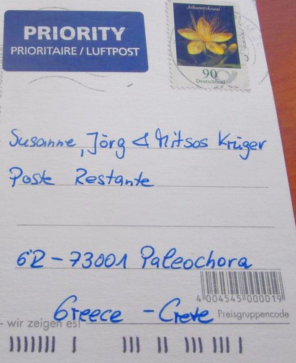 Postkarte Anschrift