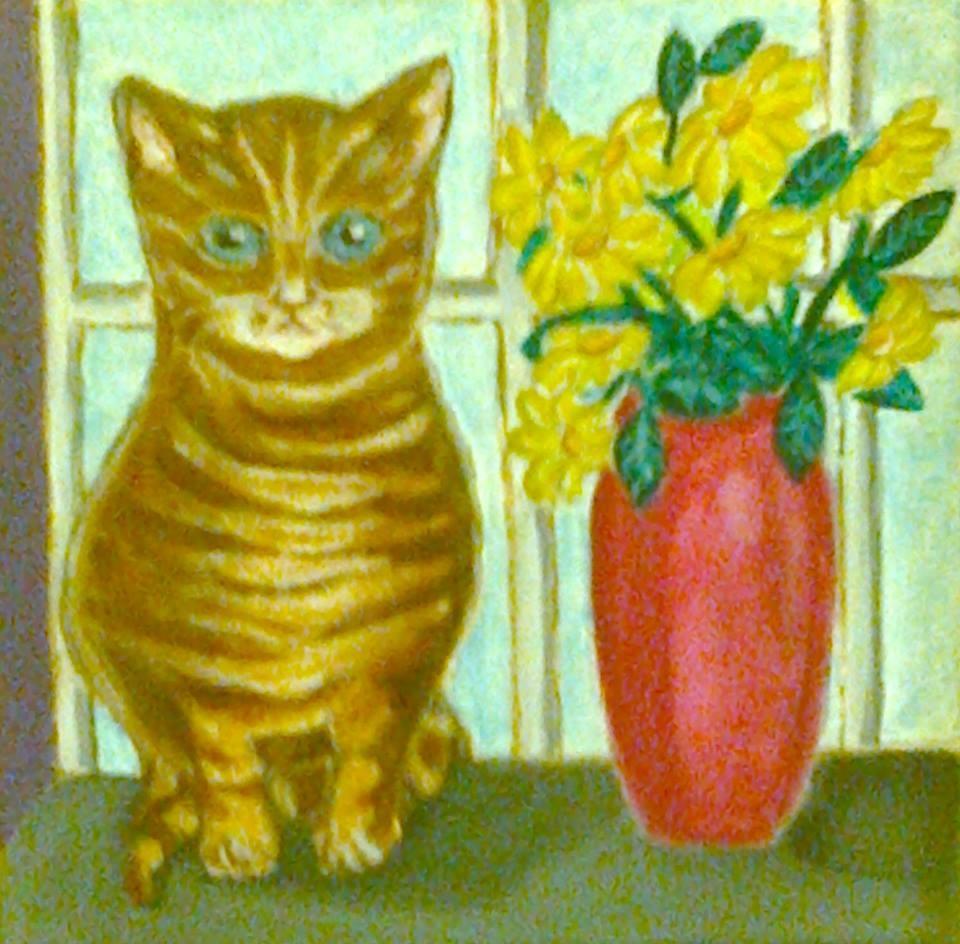 AFG Katze mit Blumen