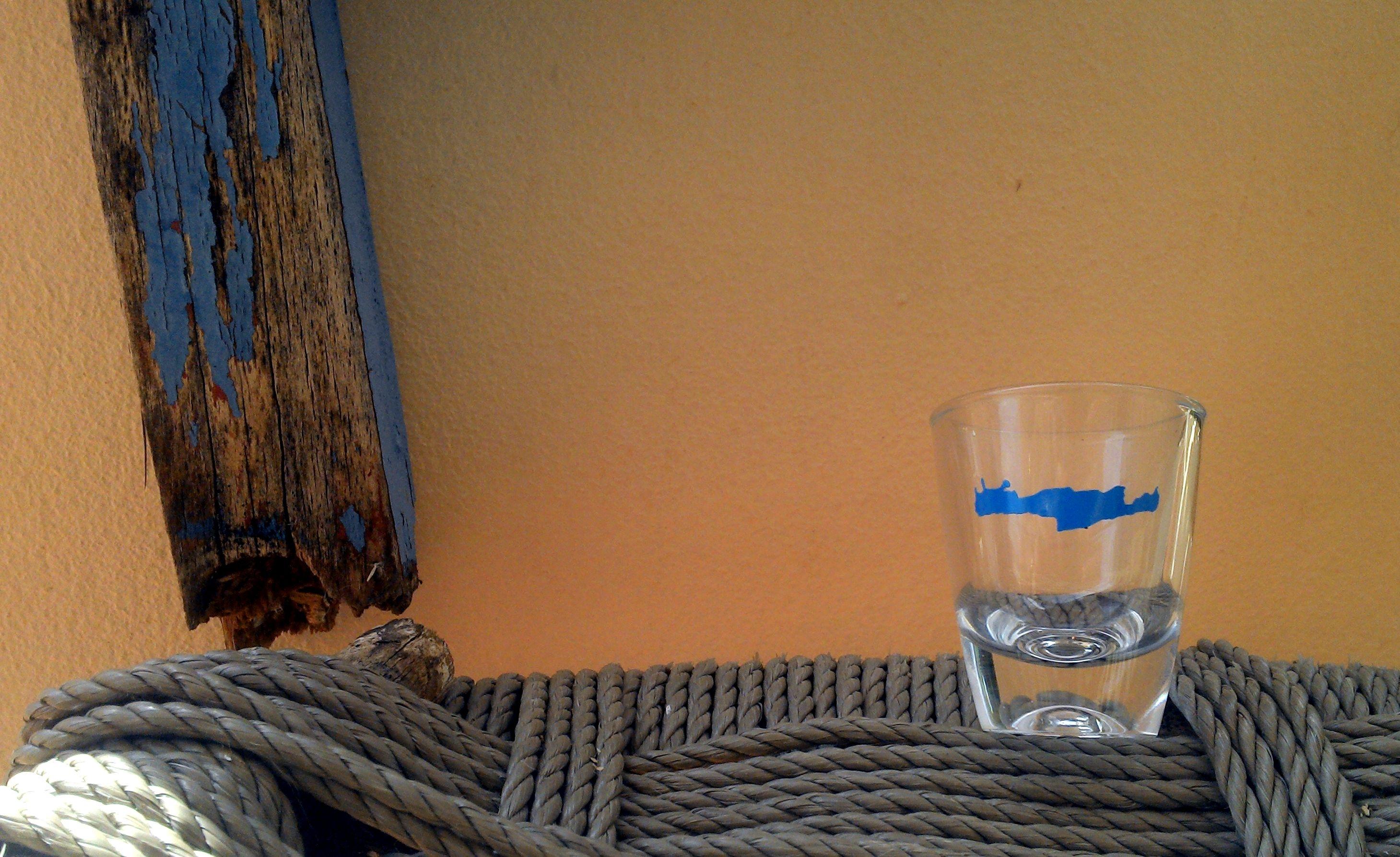 Shop Raki Glas Aufkleber blau